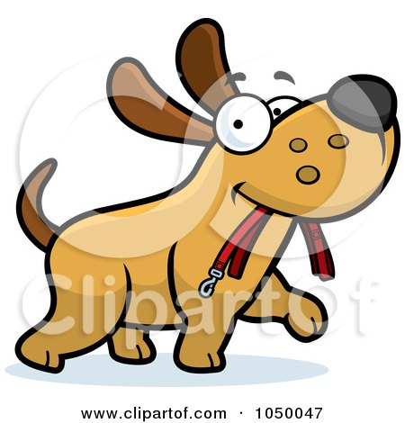 Royalty-free clipart illustration of a dog walking with a leash in his mouth