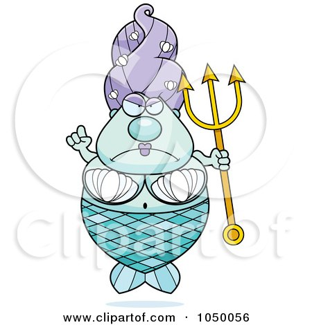 Royalty-Free (RF) Clip Art Illustration of a Plump Mermaid With A Trident by Cory Thoman