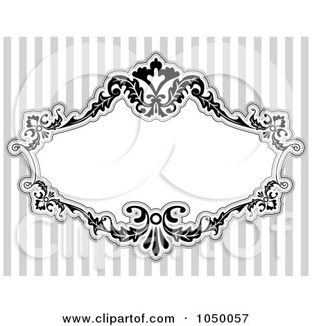 Royalty-Free (RF) Clip Art Illustration of a Black And White Floral Victorian Frame Over Gray Stripes - 5 by BNP Design Studio