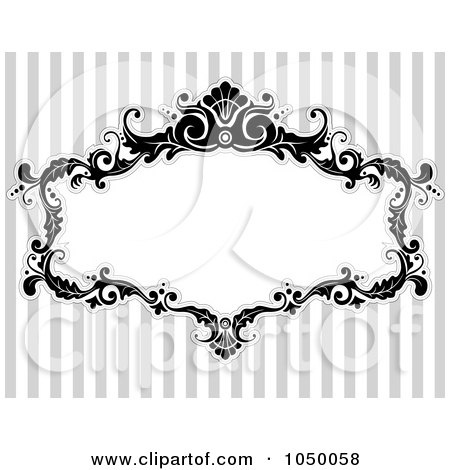 Royalty-Free (RF) Clip Art Illustration of a Black And White Floral Victorian Frame Over Gray Stripes - 1 by BNP Design Studio
