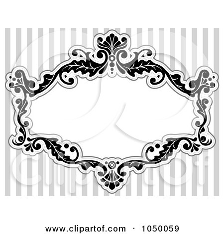 Royalty-Free (RF) Clip Art Illustration of a Black And White Floral Victorian Frame Over Gray Stripes - 2 by BNP Design Studio