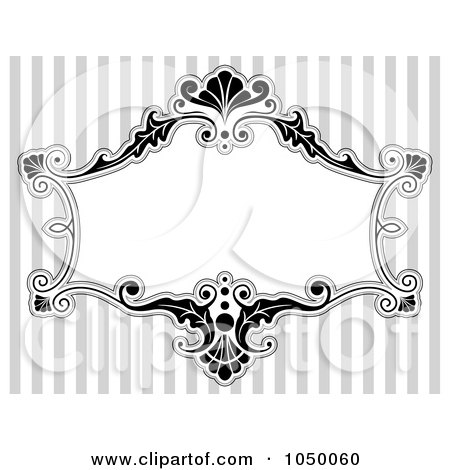 Royalty-Free (RF) Clip Art Illustration of a Black And White Floral Victorian Frame Over Gray Stripes - 3 by BNP Design Studio