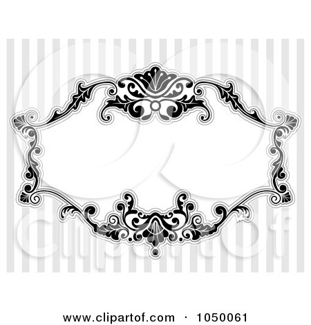 Royalty-Free (RF) Clip Art Illustration of a Black And White Floral Victorian Frame Over Gray Stripes - 4 by BNP Design Studio