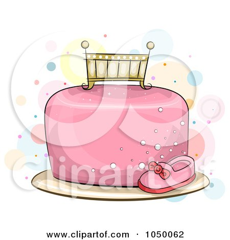 Royalty-Free (RF) Clip Art Illustration of a Crib Topper On A Pink Baby Girl Cake by BNP Design Studio