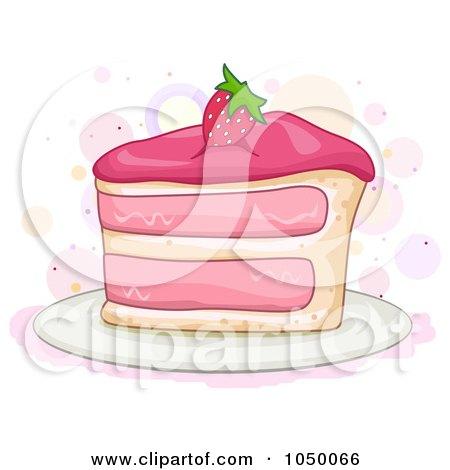 Royalty-Free (RF) Clip Art Illustration of a Slice Of Strawberry Cake by BNP Design Studio