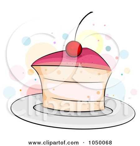 Royalty-Free (RF) Clip Art Illustration of a Slice Of Cherry Cake by BNP Design Studio