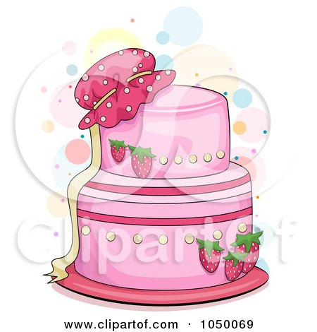Royalty-Free (RF) Clip Art Illustration of a Pink Strawberry Cake With A Bonnet by BNP Design Studio