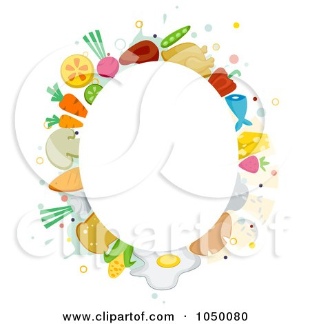 Oval Frame Of Food Items Around Copyspace Posters, Art Prints