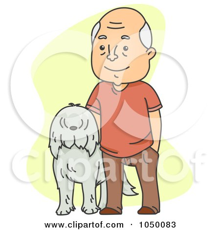 Royalty-Free (RF) Clip Art Illustration of a Senior Man Standing With His Dog by BNP Design Studio