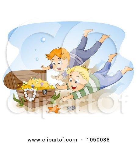 Royalty-Free (RF) Clip Art Illustration of Boys Diving For Sunken Treasure by BNP Design Studio