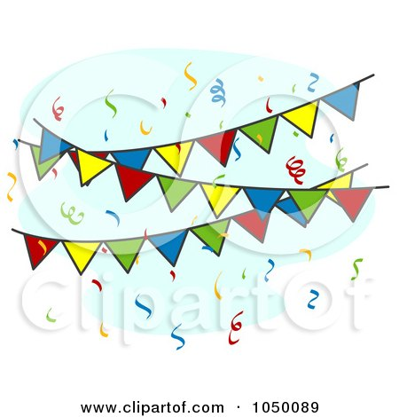Royalty-Free (RF) Clip Art Illustration of Colorful Fiesta Pennant Banners And Confetti by BNP Design Studio