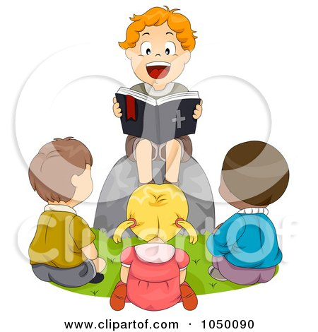 Royalty-Free (RF) Clip Art Illustration of a Boy Reading A Bible To Friends by BNP Design Studio