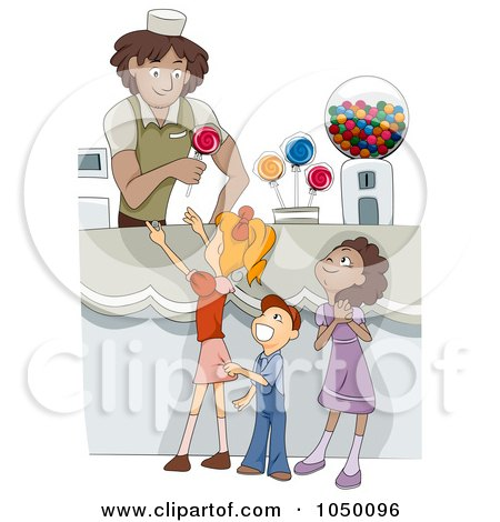 Royalty-Free (RF) Clip Art Illustration of Diverse Kids In A Candy Shop by BNP Design Studio