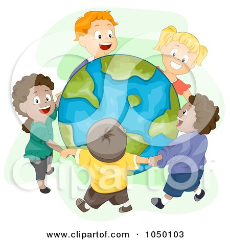 people holding hands around earth. Diverse Kids Holding Hands And Standing Around Earth Poster, Art Print