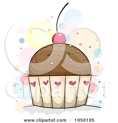 Royalty-Free (RF) Clip Art Illustration of a Chocolate Cupcake With Sprinkles And A Cherry by BNP Design Studio
