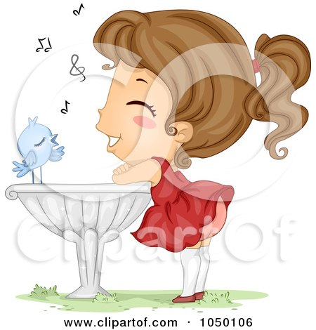Blue Bird Serenading A Girl On A Bird Bath Posters, Art Prints