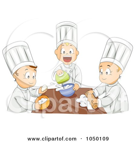 Royalty-Free (RF) Clip Art Illustration of a Group Of Kids Baking In Home Economics Class by BNP Design Studio