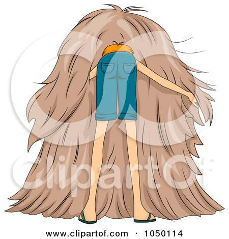 Royalty-Free (RF) Clip Art Illustration of a Man Searching For A Needle In A Haystack by BNP Design Studio