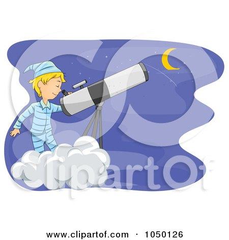 Royalty-Free (RF) Clip Art Illustration of a Boy Star Gazing On A Cloud by BNP Design Studio
