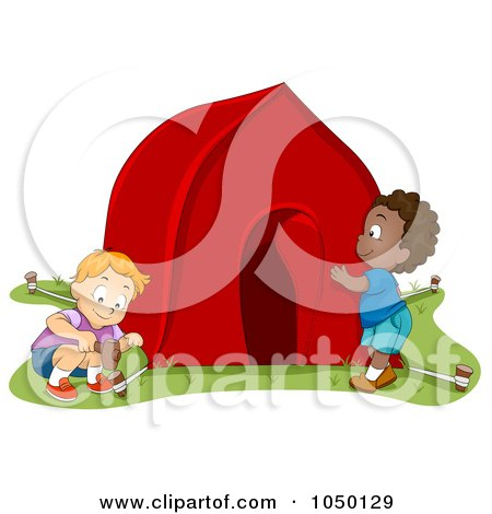 Royalty-Free (RF) Clip Art Illustration of Boys Pitching A Tent by BNP Design Studio