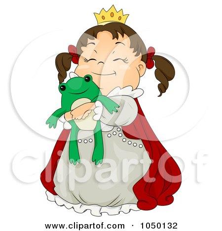 Royalty-Free (RF) Clip Art Illustration of a Princess Girl Hugging A Stuffed Frog by BNP Design Studio