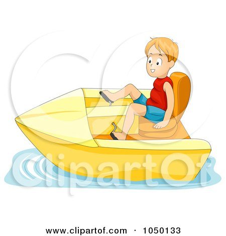 Royalty-Free (RF) Clip Art Illustration of a Boy In A Pedal Boat by BNP Design Studio