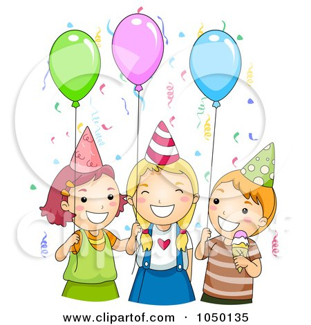 Kids with balloons and ice cream at a birthday party posters art prints by bnp design studio