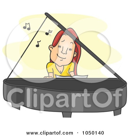 Royalty-Free (RF) Clip Art Illustration of a Female Pianist Playing by BNP Design Studio