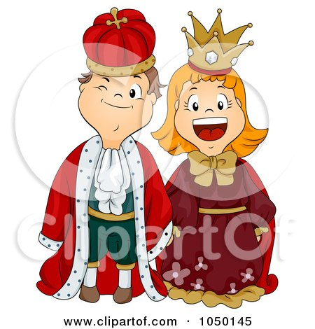 Royalty-Free (RF) Clip Art Illustration of a Boy And Girl Dressed As King And Queen by BNP Design Studio