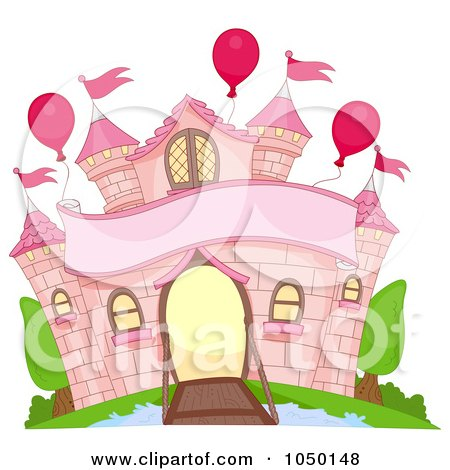 Royalty-Free (RF) Clip Art Illustration of a Pink Castle Facade With A Moat, Banner And Balloons by BNP Design Studio