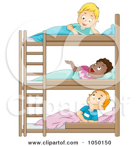 Royalty-Free (RF) Clip Art Illustration of Camp Boys Talking In Their Bunk Beds by BNP Design Studio