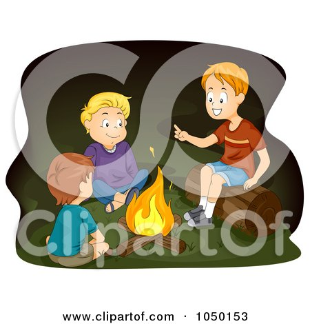 Royalty-Free (RF) Clip Art Illustration of Boys Telling Stories Around A Campfire by BNP Design Studio