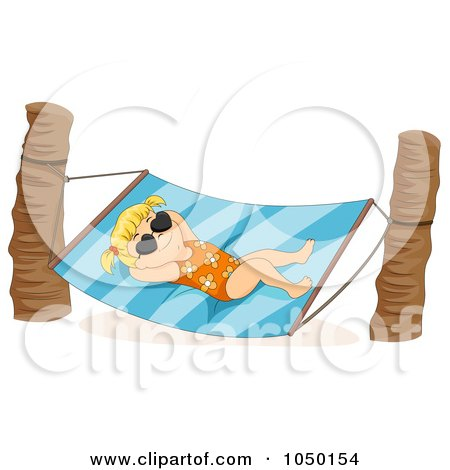 Royalty-Free (RF) Clip Art Illustration of a Summer Girl Relaxing In A Hammock by BNP Design Studio