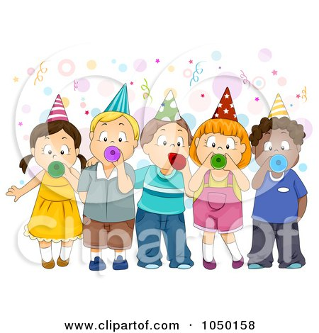 Preview Clipart   Group Of Kids Blowing Party Horns by BNP Design Studio