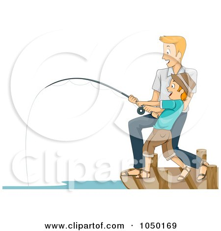 Royalty-Free (RF) Clip Art Illustration of a Father And Son Reeling In A Big Catch by BNP Design Studio