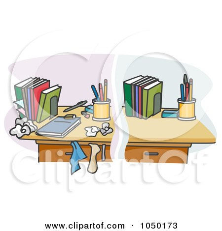 Royalty-Free (RF) Clip Art Illustration of a Split Scene Of A Clean And Messy Desk by BNP Design Studio