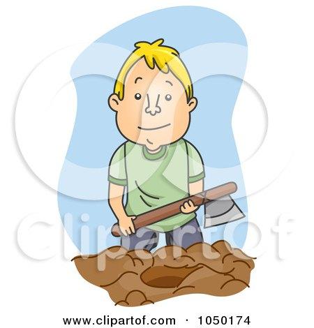 Royalty-Free (RF) Clip Art Illustration of a Man Burying The Hatchet by BNP Design Studio