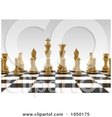 Royalty-Free (RF) Clip Art Illustration of 3d White Chess Pieces On A Board With A Very Shallow Depth Of Field by stockillustrations