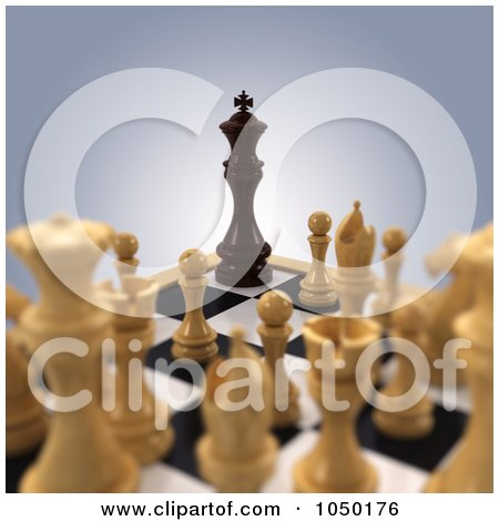 Royalty-Free (RF) Clip Art Illustration of a 3d Black Chess King Corned By White Chess Pieces by stockillustrations