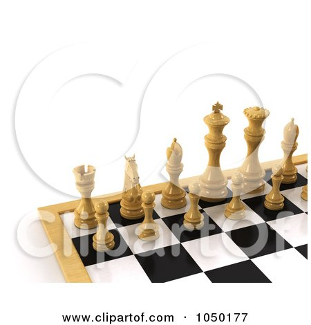 Royalty-Free (RF) Clip Art Illustration of 3d White Chess Pieces On A Board by stockillustrations