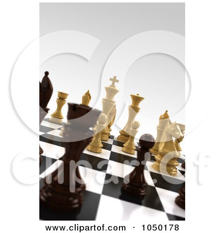 Royalty-Free (RF) Clip Art Illustration of 3d White And Black Chess Pieces On A Board With Very Shallow Depth Of Field by stockillustrations