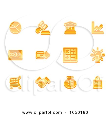 Royalty-Free (RF) Clip Art Illustration of a Digital Collage Of Orange Business Icons - 1 by AtStockIllustration