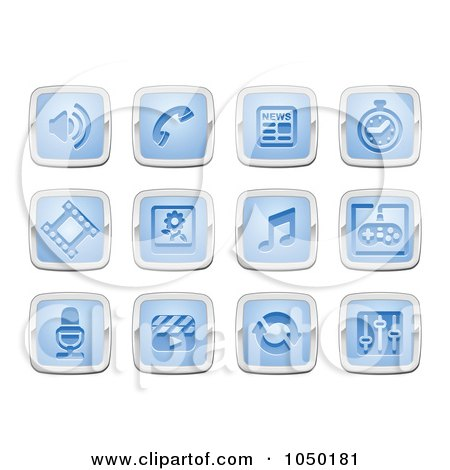 Royalty-Free (RF) Clip Art Illustration of a Digital Collage Of Blue And Silver Media Icons by AtStockIllustration