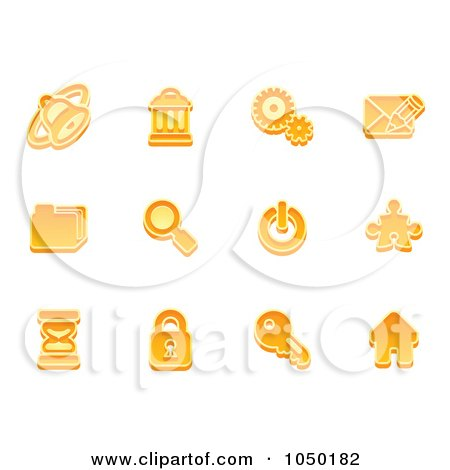 Royalty-Free (RF) Clip Art Illustration of a Digital Collage Of Orange Business Icons - 3 by AtStockIllustration