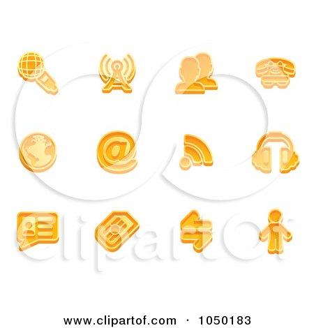 Royalty-Free (RF) Clip Art Illustration of a Digital Collage Of Orange Communication Icons by AtStockIllustration