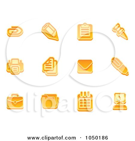 Royalty-Free (RF) Clip Art Illustration of a Digital Collage Of Orange Business Icons - 2 by AtStockIllustration