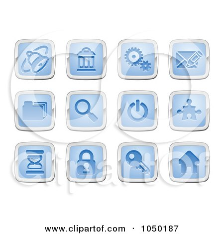 Royalty-Free (RF) Clip Art Illustration of a Digital Collage Of Blue And Silver Internet Icons by AtStockIllustration