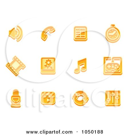 Royalty-Free (RF) Clip Art Illustration of a Digital Collage Of Orange Media Icons by AtStockIllustration