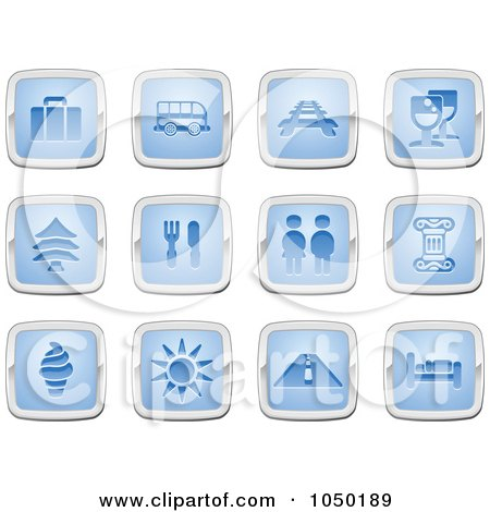 Royalty-Free (RF) Clip Art Illustration of a Digital Collage Of Blue And Silver Travel Icons by AtStockIllustration