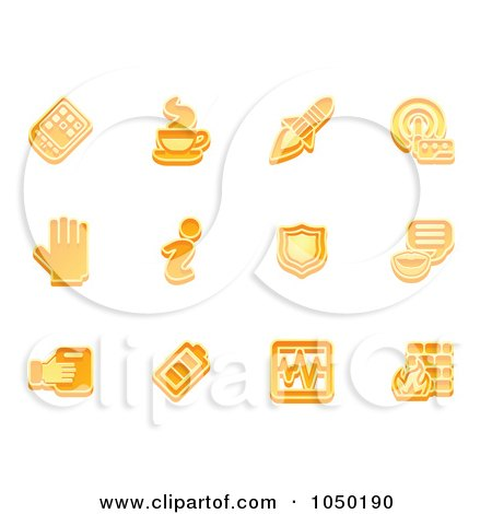 Royalty-Free (RF) Clip Art Illustration of a Digital Collage Of Orange Application Icons by AtStockIllustration